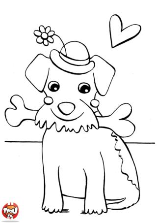 Coloriage: Le chien et son os