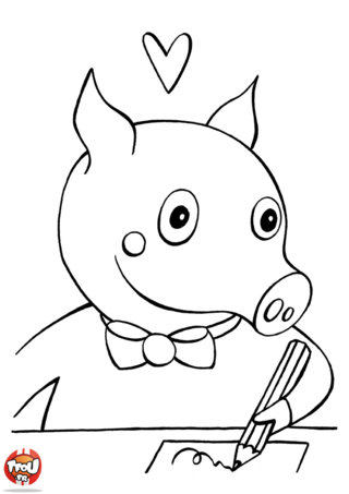 Coloriage: petit cochon à l'école
