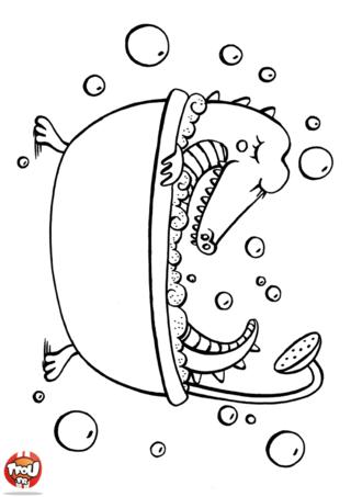 Coloriage: Crocodile dans son bain