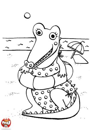 Coloriage: Crocodile à la plage