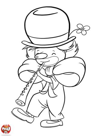 Coloriage: Clown musicien