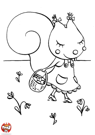 Coloriage: Petite écureuil se promène