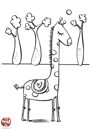 Coloriage: Girafe dans une clairière
