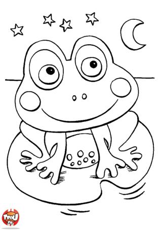 Coloriage: Petite grenouille sourit
