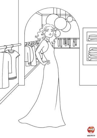 Coloriage : Sandra en robe longue. Imprime vite ce joli coloriage de Sandra en robe longue que tu peux colorier avec toutes les couleurs de ton choix.