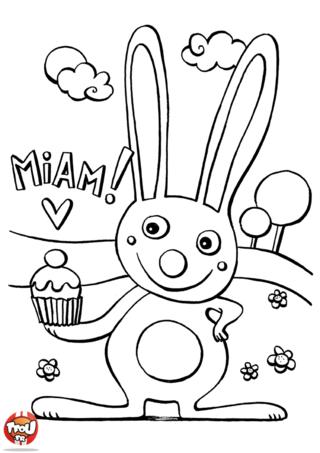 Coloriage: Lapin mange son gâteau