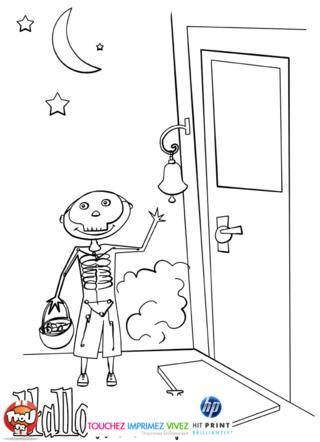 Coloriage: Squelette d'Halloween