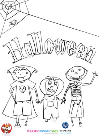 Coloriage: Le trio d'Halloween