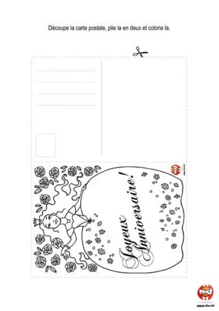 Activité : Carte postale Princesse. Invite tes amis pour ton anniversaire en imprimant cette jolie carte postale autant de fois que tu le souhaite et gratuitement sur TFou.fr.