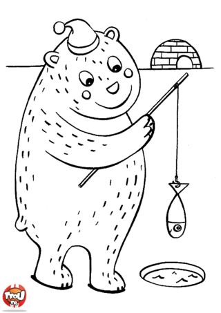 Coloriage: L'ours pêche