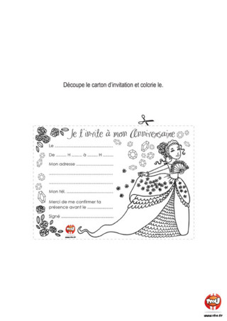 Activité : Carte d'invitation Princesse. Prépare ta fête d'anniversaire en imprimant cette carte d'invitation sous le thème des fées pour inviter tes amis.