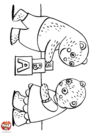Coloriage: Petits ours jouent