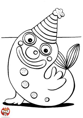 Coloriage: Petit phoque au chapeau