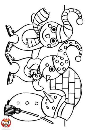 Coloriage: Les enfants pingouins