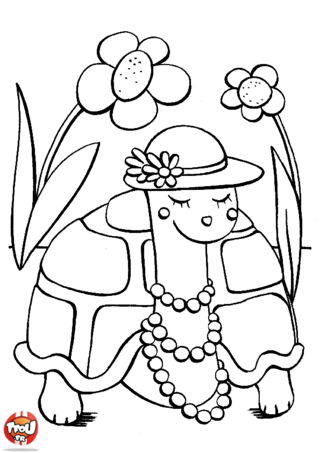 Coloriage: Madame Tortue