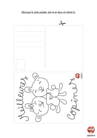 Activité : Une carte postale pour mes copines. Tu adores tes copines ? Alors écrit-leur vite une carte postale ! Elle est à imprimer gratuitement sur TFou.fr.