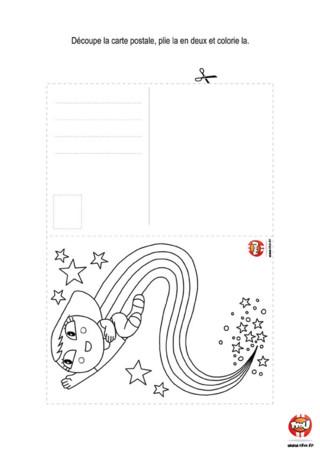 Activité : Carte postale fille. Tu aimes envoyer des cartes postales à tes amis ? Alors imprime vite cette jolie carte postale gratuitement sur TFou.fr.
