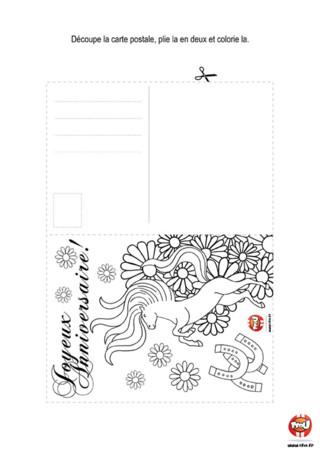 Activité : Carte Postale cheval. Invite tes amis à ta fête d'anniversaire en envoyant cette jolie carte postale.