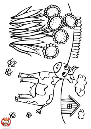 Coloriage: Vache et tournesols