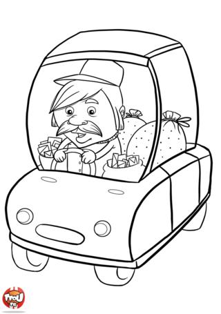 Coloriage: Facteur en voiture
