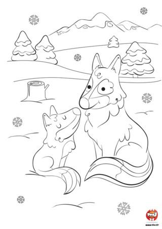 Chez les loups, la famille c'est très important. Les parents loups prennent bien soin de leurs petits. Regarde comme cette maman loup et son enfant sont mignons. Ils sont assis tous les deux à côté dans la neige. Tu as vu aussi les jolies montagnes derrière eux. Il est joli ce coloriage avec les montagnes. Imprime vite ce magnifique coloriage gratuit pour enfant sur TFou.fr et amuse-toi. Colorie cette maman loup et son petit pour les rendre encore plus beaux.