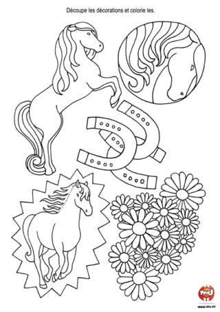 Activité : Décoration de table cheval. Imprime ces jolies décorations de tables pour décorer ta table d'anniversaire sur le thème du cheval.