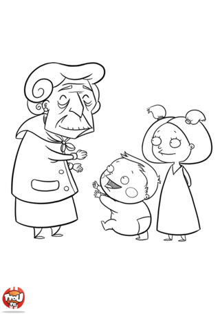Cette grand-mère a deux adorables petits enfants. Pour la fête des grand-mères, ils ont pensé à imprimer des coloriages Fête des grand-mères sur TFou.fr.