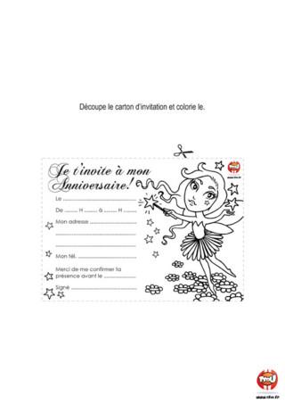 Activité : Carte d'invitation Fée. Distribue ces cartons d'invitation pour inviter tes amis à ton anniversaire de fée.