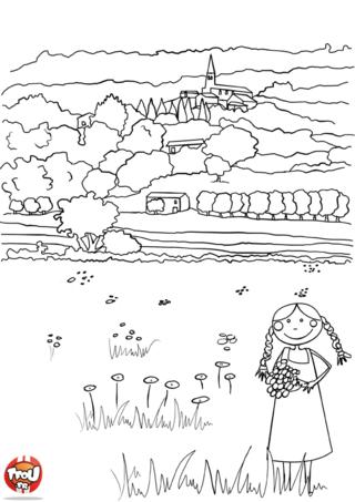 Coloriage: Dans les champs