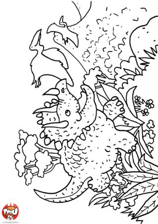 Coloriage: Les dinosaures en balade