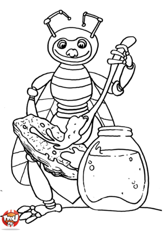 Coloriage: Abeille tartine de miel