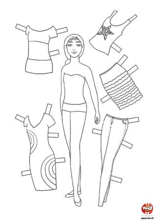 Activité : Mannequin 3. Imprime ce mannequin gratuitement sur TFou.fr. A toi de créer le look idéal en changeant autant de fois que tu le veux les couleurs des vêtements et accessoires. Tu peux même te servir du gabarit pour créer tes propres tenues !
