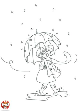 Coloriage: Sous la pluie