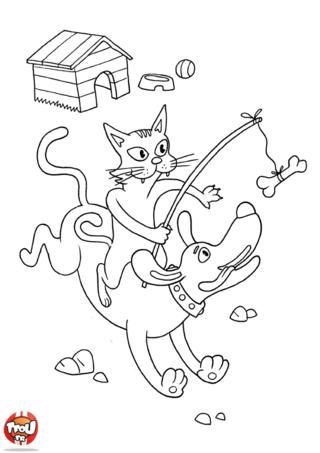 Coloriage: Chat et chien
