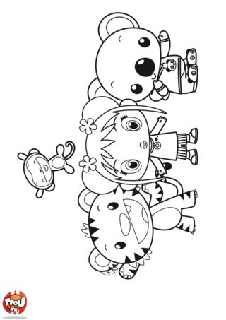 Coloriage: Kai-Lan et ses amis Tolee Ritoo et Hoho