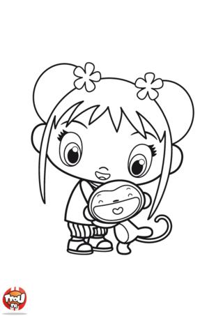Coloriage: Kai-Lan et son ami Hoho