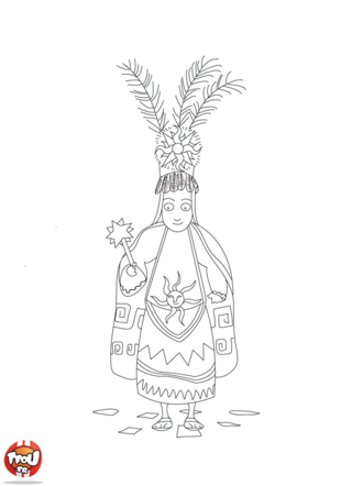 Coloriage: Prêtre inca