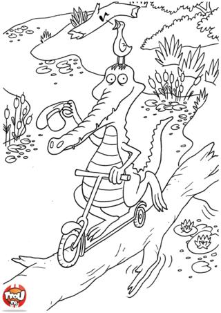 Coloriage: Crocodile en trottinette