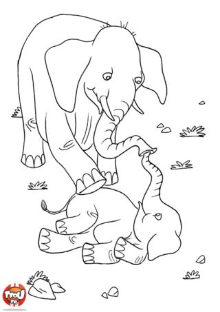 Coloriage: Eléphants qui jouent