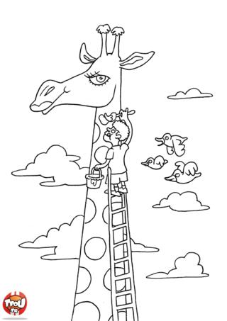 Coloriage: Girafe peinture