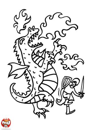 Coloriage: Dragon et chevalier