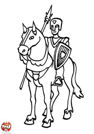 Coloriage: Chevalier à cheval