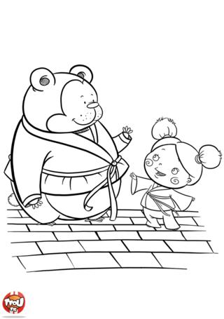 Coloriage: Judo avec un ours