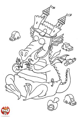 Coloriage: Bébé dragon