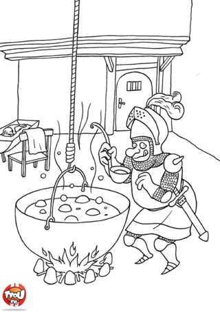 Coloriage: Chevalier qui mange la soupe