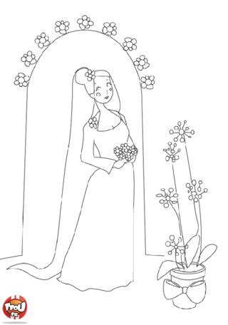 Coloriage: Mariée