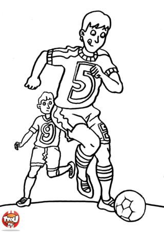 Coloriage: Enfant footballeur