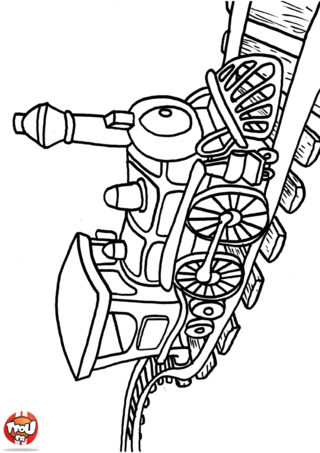 Coloriage: Locomotive sur rails