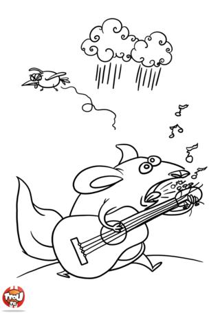 Coloriage: Souris guitariste