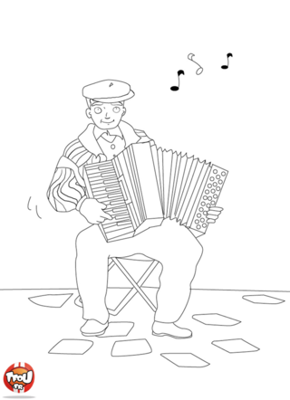 Coloriage: Accordéoniste